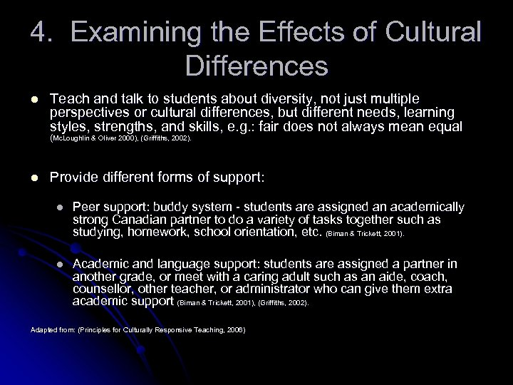 4. Examining the Effects of Cultural Differences l Teach and talk to students about