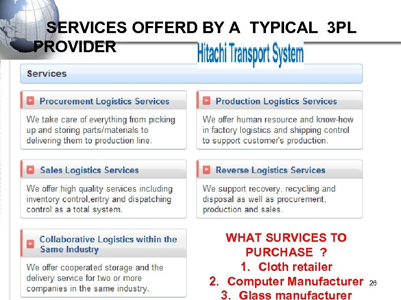 SERVICES OFFERD BY A TYPICAL 3 PL PROVIDER WHAT SURVICES TO PURCHASE ?