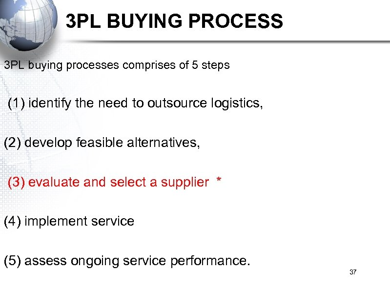 3 PL BUYING PROCESS 3 PL buying processes comprises of 5 steps (1) identify