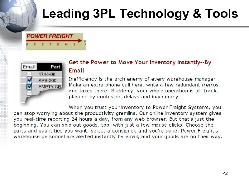 Leading 3 PL Technology & Tools 42