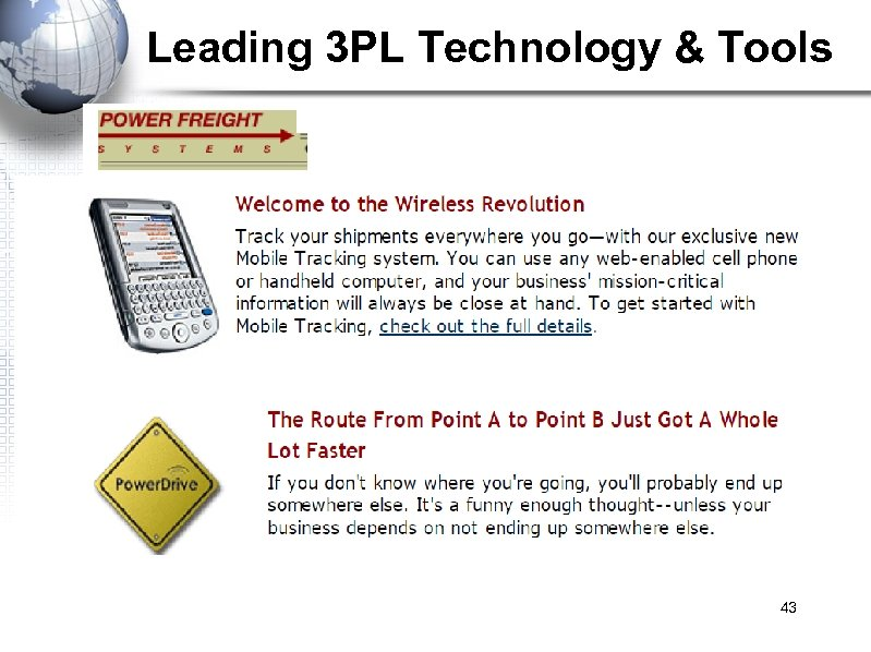Leading 3 PL Technology & Tools 43