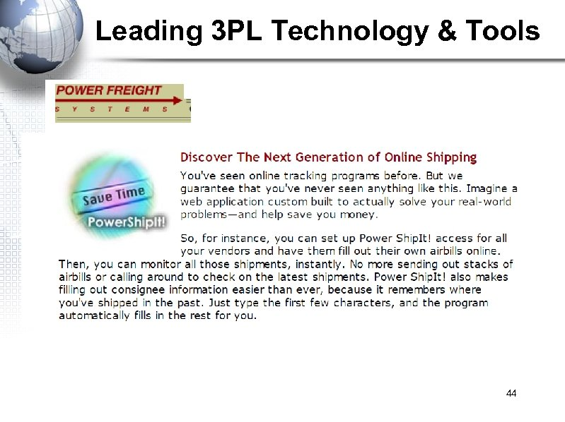 Leading 3 PL Technology & Tools 44