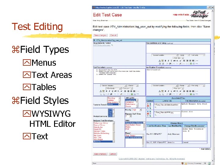 Test Editing z. Field Types y. Menus y. Text Areas y. Tables z. Field