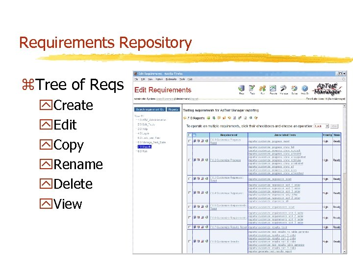 Requirements Repository z. Tree of Reqs y. Create y. Edit y. Copy y. Rename
