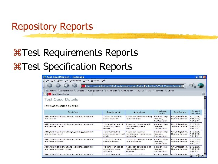 Repository Reports z. Test Requirements Reports z. Test Specification Reports