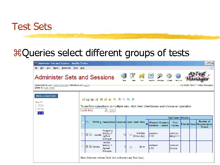 Test Sets z. Queries select different groups of tests