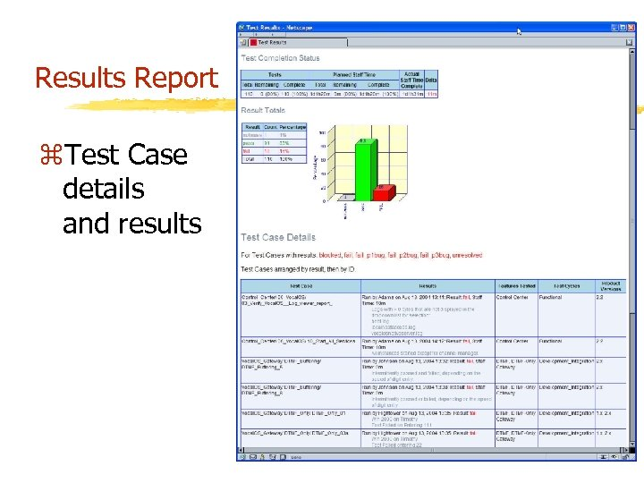 Results Report z. Test Case details and results