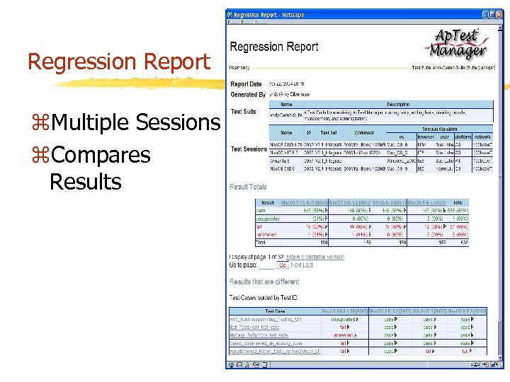 Regression Report z. Multiple Sessions z. Compares Results