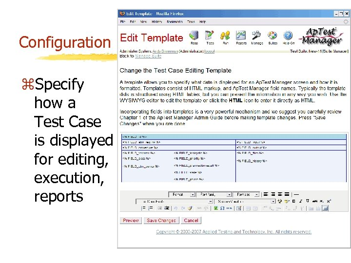 Configuration z. Specify how a Test Case is displayed for editing, execution, reports