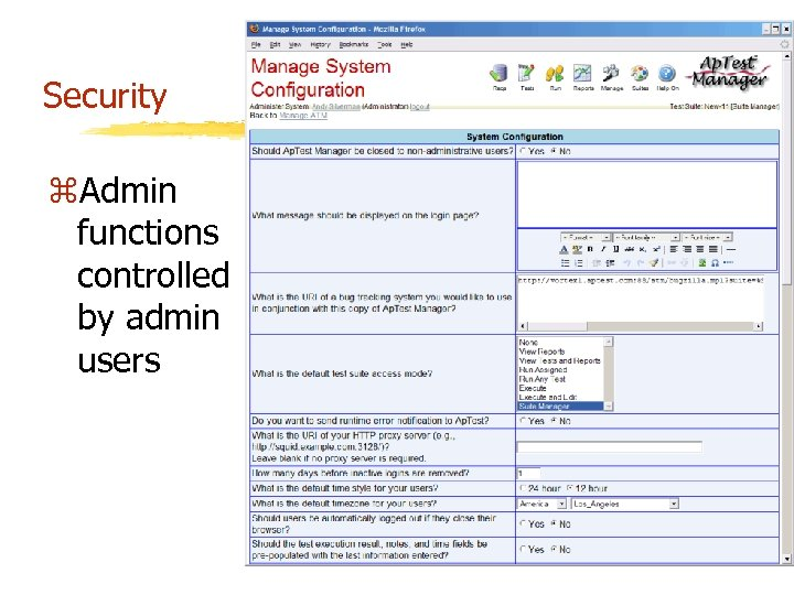 Security z. Admin functions controlled by admin users