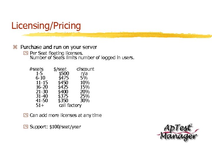Licensing/Pricing z Purchase and run on your server y Per Seat floating licenses. Number