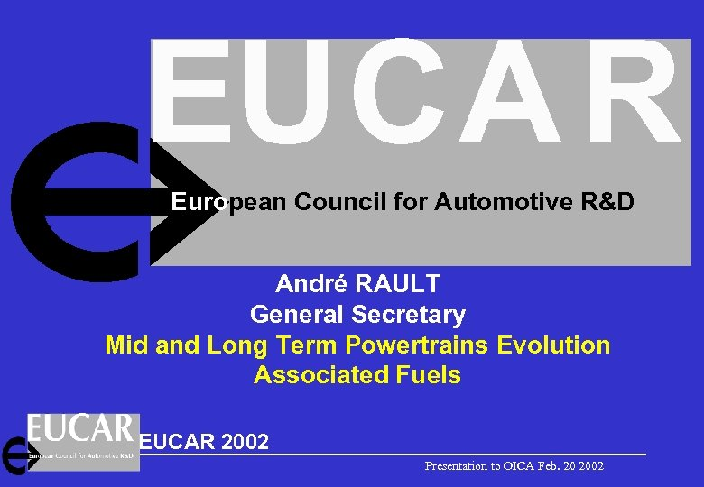 EUCA R European Council for Automotive R&D André RAULT General Secretary Mid and Long