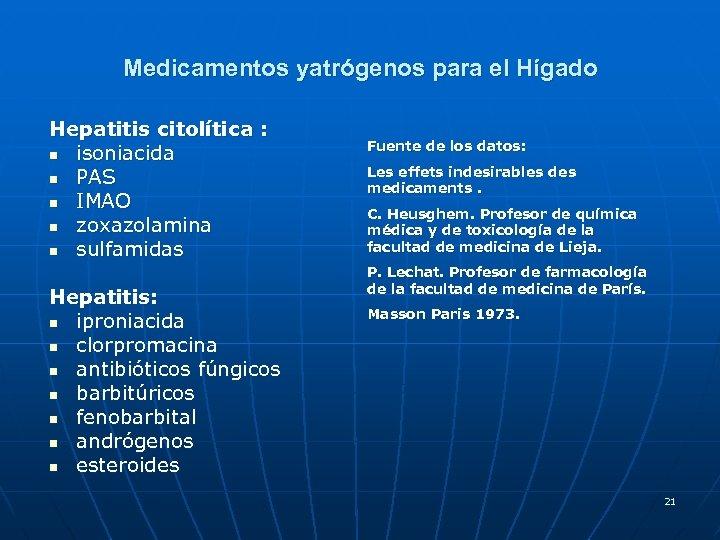 Medicamentos yatrógenos para el Hígado Hepatitis citolítica : n isoniacida n PAS n IMAO
