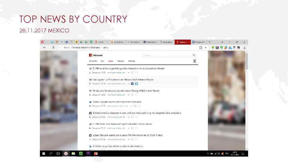 TOP NEWS BY COUNTRY 28. 11. 2017 MEXICO