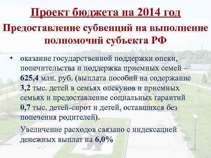 Проект бюджета на 2014 год Предоставление субвенций на выполнение полномочий субъекта РФ • оказание