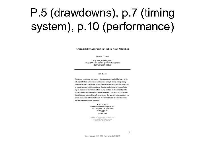 P. 5 (drawdowns), p. 7 (timing system), p. 10 (performance)