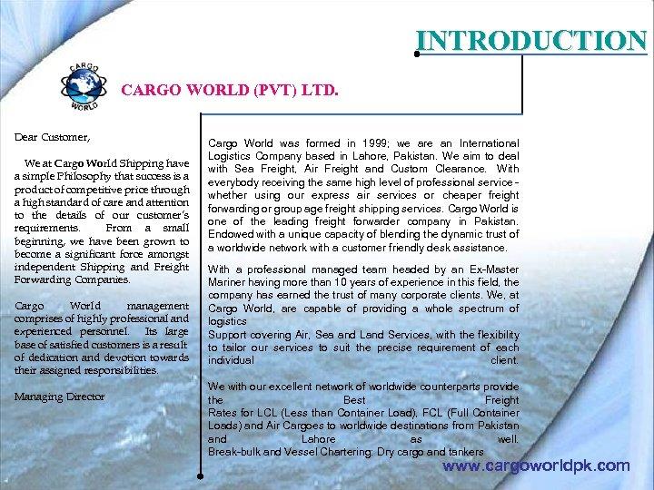 www cargoworldpk com INTRODUCTION CARGO WORLD PVT