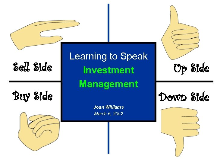 Sell Side Buy Side Learning to Speak Investment Management Joan Williams March 6, 2002