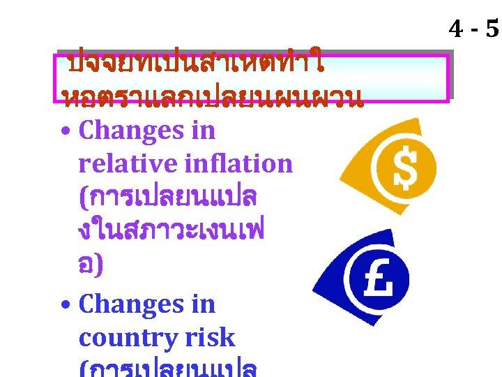 ปจจยทเปนสาเหตทำใ หอตราแลกเปลยนผนผวน • Changes in relative inflation (การเปลยนแปล งในสภาวะเงนเฟ อ) • Changes in country