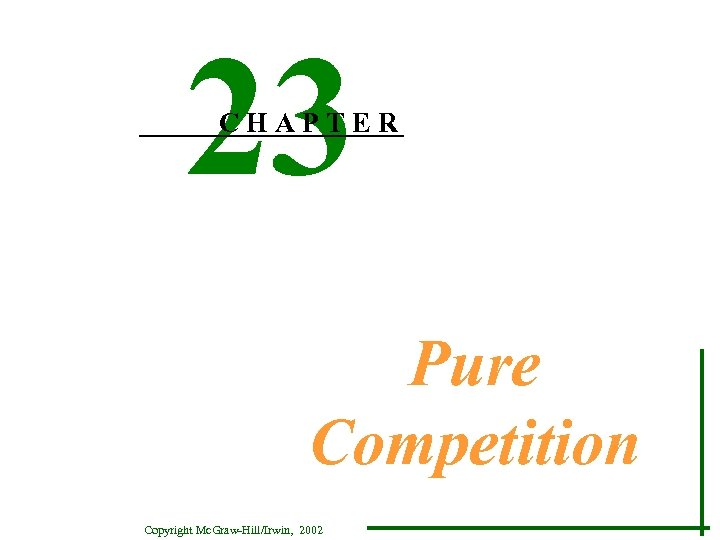 23 CHAPTER Pure Competition Copyright Mc. Graw-Hill/Irwin, 2002