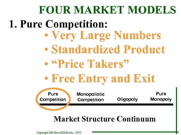 FOUR MARKET MODELS 1. Pure Competition: • Very Large Numbers • Standardized Product •