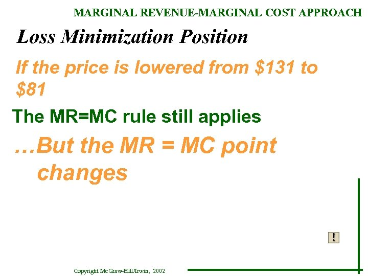 MARGINAL REVENUE-MARGINAL COST APPROACH Loss Minimization Position If the price is lowered from $131