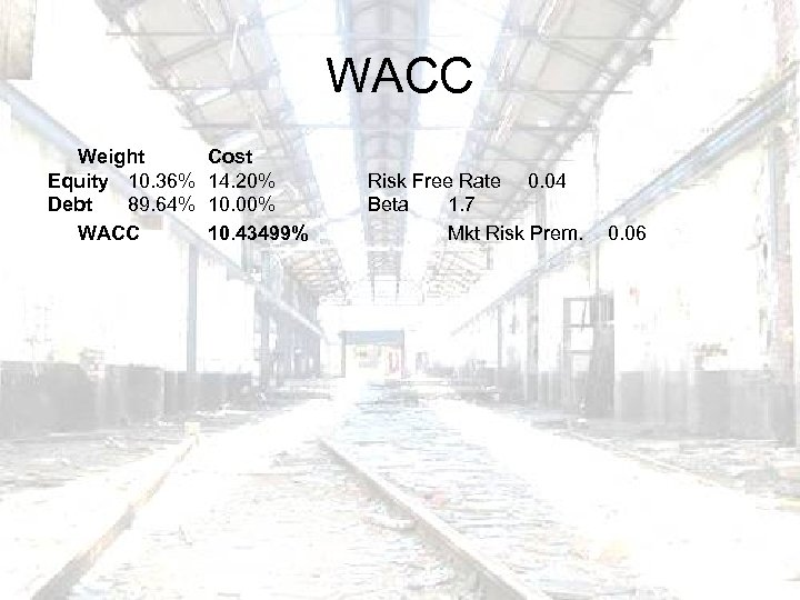 WACC Weight Equity 10. 36% Debt 89. 64% WACC Cost 14. 20% 10. 00%