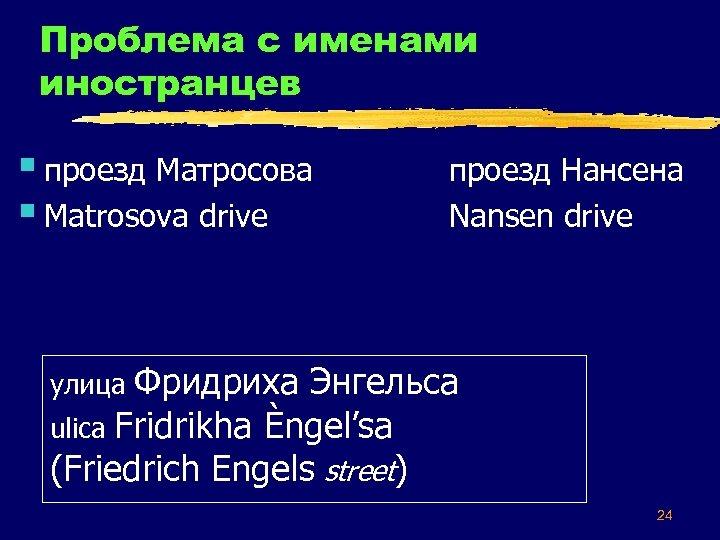 Проблема с именами иностранцев § проезд Матросова § Matrosova drive проезд Нансена Nansen drive