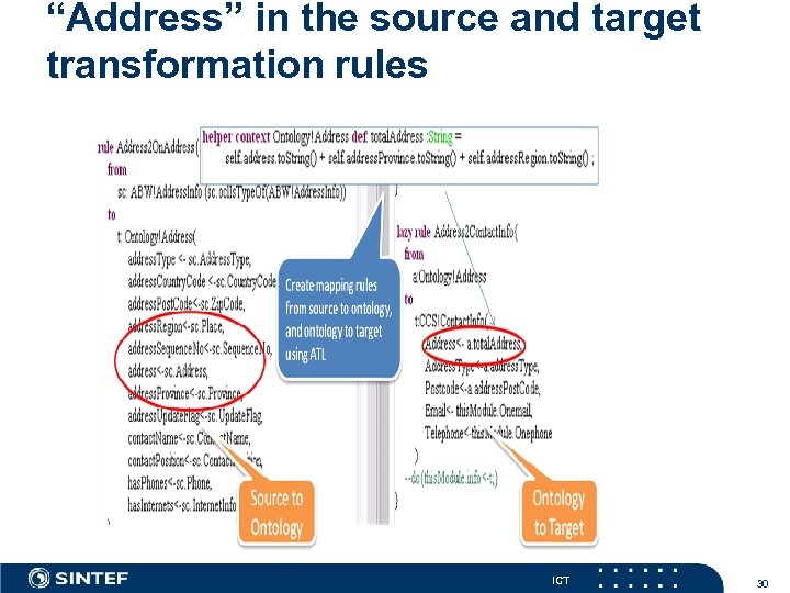 """Address"" in the source and target transformation rules ICT 30"