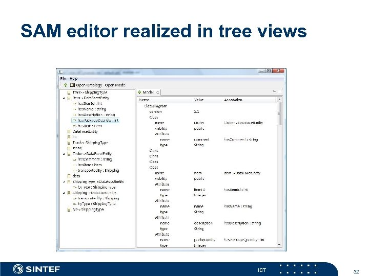 SAM editor realized in tree views ICT 32