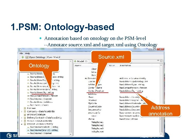 1. PSM: Ontology-based Annotation based on ontology on the PSM-level --Annotate source. xml and