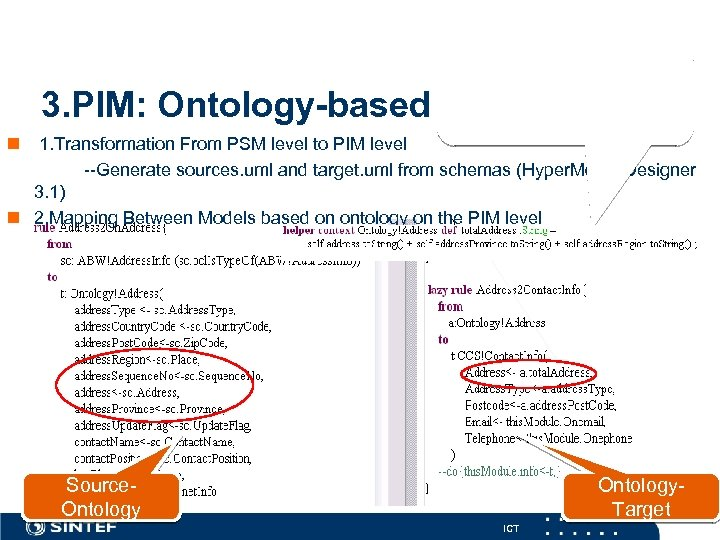 3. PIM: Ontology-based Step 2: Create mapping rules from source to ontology, and ontology