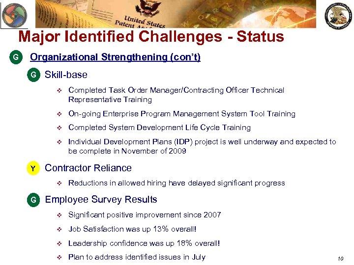 Major Identified Challenges - Status G Organizational Strengthening (con't) G v Skill-base v v
