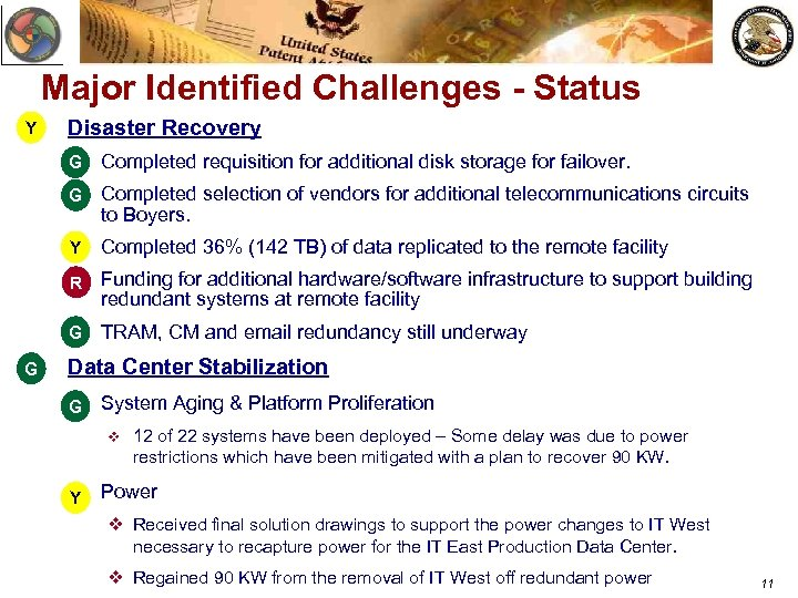 Major Identified Challenges - Status Y Disaster Recovery v Completed requisition for additional disk