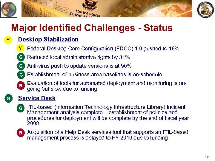 Major Identified Challenges - Status Y Desktop Stabilization Y v Federal Desktop Core Configuration