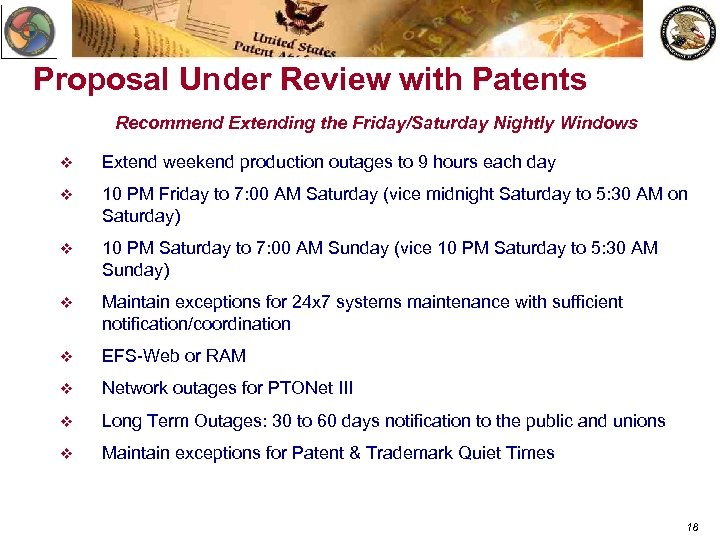 Proposal Under Review with Patents Recommend Extending the Friday/Saturday Nightly Windows v Extend weekend