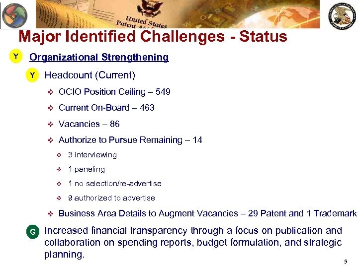 Major Identified Challenges - Status Y Organizational Strengthening Y v Headcount (Current) v OCIO