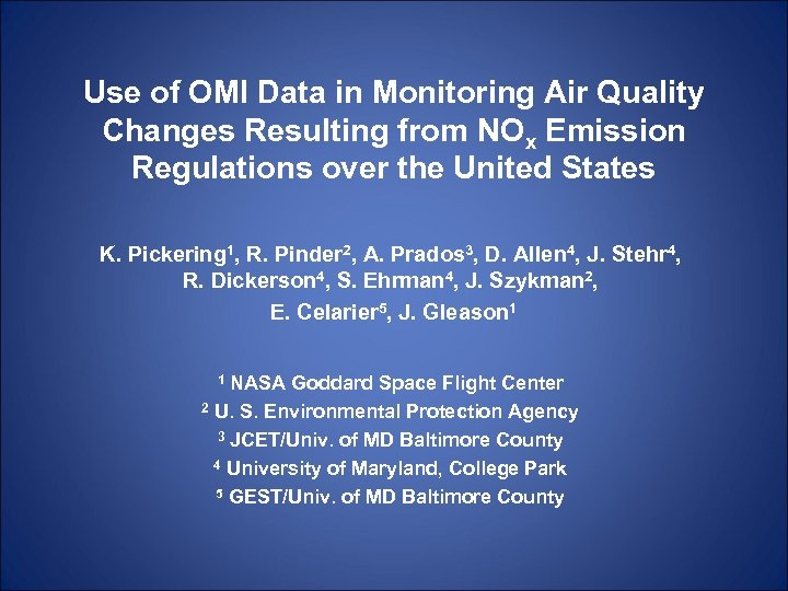 Use of OMI Data in Monitoring Air Quality Changes Resulting from NOx Emission Regulations