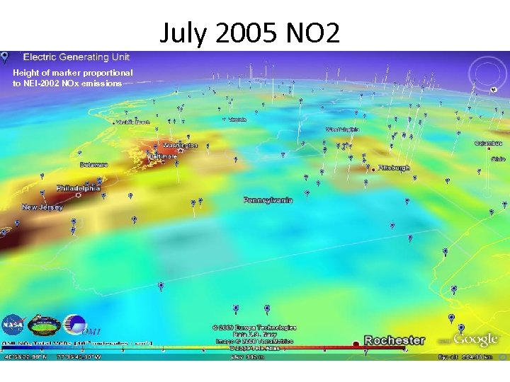 July 2005 NO 2 Height of marker proportional to NEI-2002 NOx emissions