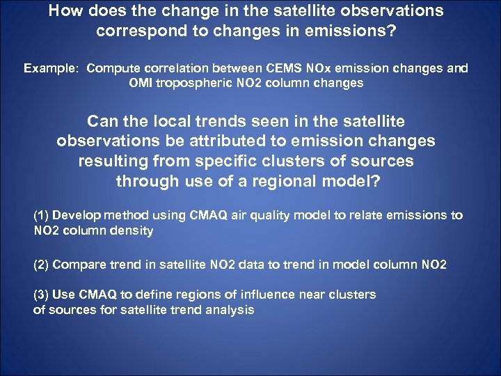 How does the change in the satellite observations correspond to changes in emissions? Example: