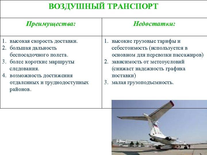 ВОЗДУШНЫЙ ТРАНСПОРТ Преимущества: 1. высокая скорость доставки. 2. большая дальность беспосадочного полета. 3. более