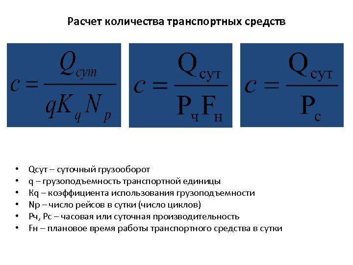 Расчет количества транспортных средств • • • Qсут – суточный грузооборот q – грузоподъемность