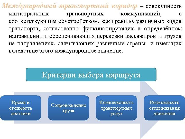 Международный транспортный коридор – совокупность магистральных транспортных коммуникаций, с соответствующим обустройством, как правило, различных