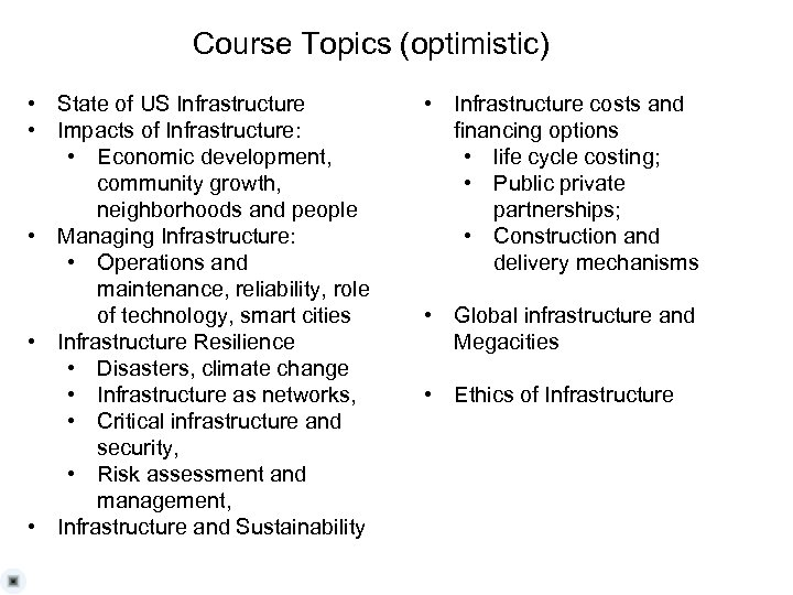 Course Topics (optimistic) • State of US Infrastructure • Impacts of Infrastructure: • Economic