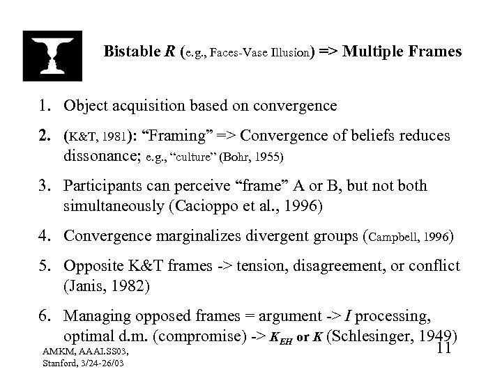 Bistable R (e. g. , Faces-Vase Illusion) => Multiple Frames 1. Object acquisition based