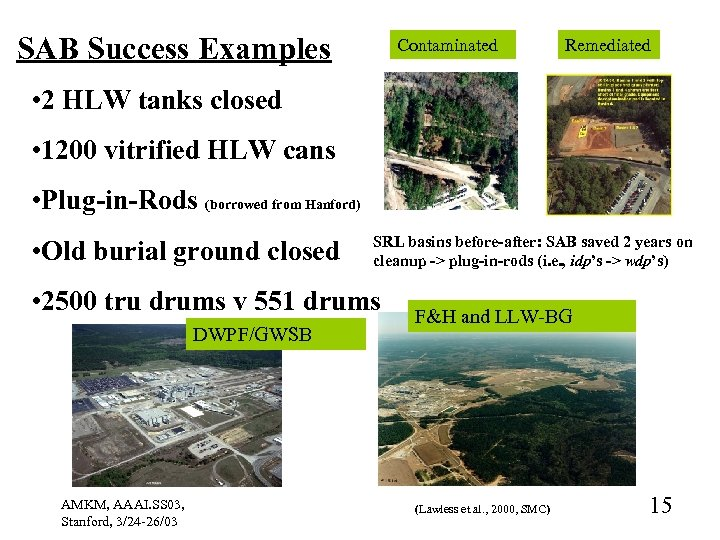 SAB Success Examples Contaminated Remediated • 2 HLW tanks closed • 1200 vitrified HLW