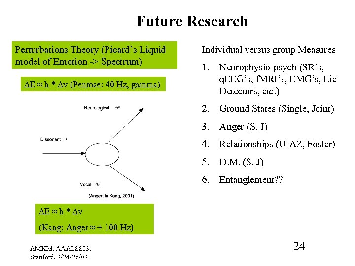 Future Research Perturbations Theory (Picard's Liquid model of Emotion -> Spectrum) Individual versus group