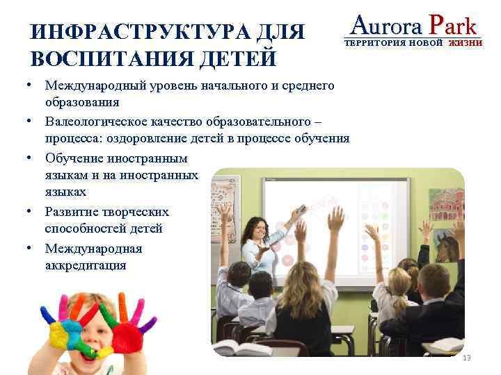 ИНФРАСТРУКТУРА ДЛЯ ВОСПИТАНИЯ ДЕТЕЙ Aurora Park ТЕРРИТОРИЯ НОВОЙ ЖИЗНИ • Международный уровень начального и