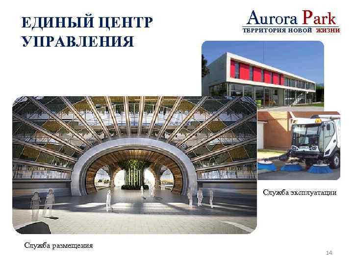 ЕДИНЫЙ ЦЕНТР УПРАВЛЕНИЯ Aurora Park ТЕРРИТОРИЯ НОВОЙ ЖИЗНИ Служба эксплуатации Служба размещения 14
