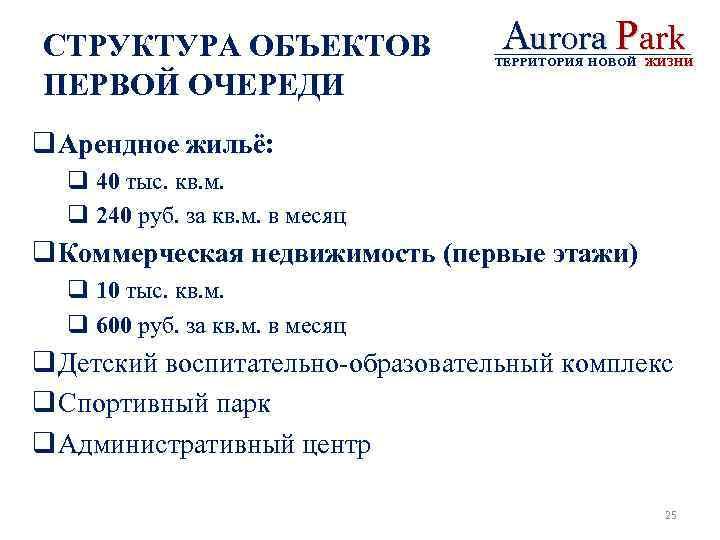 СТРУКТУРА ОБЪЕКТОВ ПЕРВОЙ ОЧЕРЕДИ Aurora Park ТЕРРИТОРИЯ НОВОЙ ЖИЗНИ q Арендное жильё: q 40